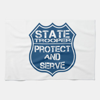 State Trooper Police Badge Protect and Serve Hand Towel