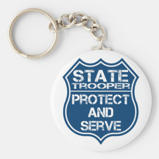 State Trooper Police Badge Protect and Serve Keychain