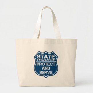 State Trooper Police Badge Protect and Serve Large Tote Bag