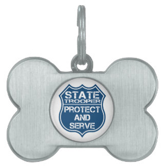 State Trooper Police Badge Protect and Serve Pet Name Tag