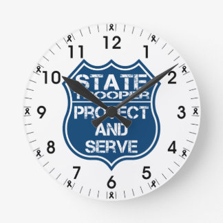 State Trooper Police Badge Protect and Serve Round Clock