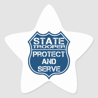 State Trooper Police Badge Protect and Serve Star Sticker