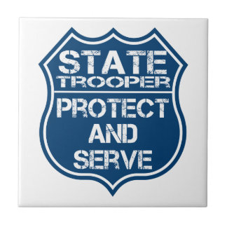 State Trooper Police Badge Protect and Serve Tile