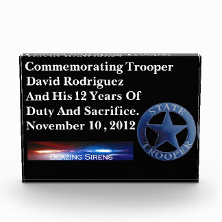 State Trooper's Customizable Acrylic Duty Award