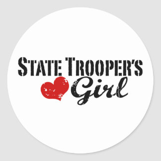 State Trooper's Girl Round Stickers