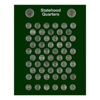 Statehood Quarters Poster -- Dark Green