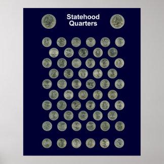 Statehood Quarters Poster -- Navy blue
