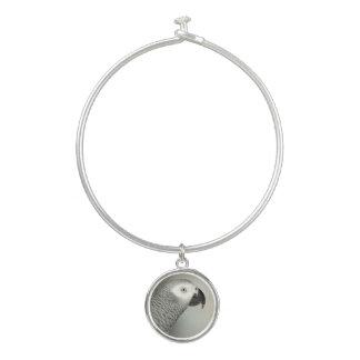 Stately African Grey Parrot Bangle Bracelet