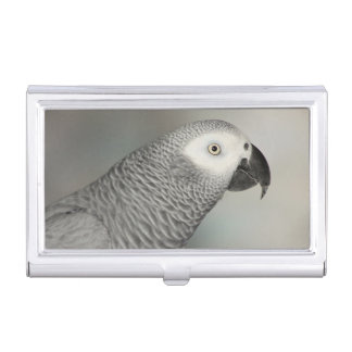 Stately African Grey Parrot Business Card Holder