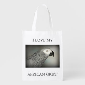 Stately African Grey Parrot Grocery Bag