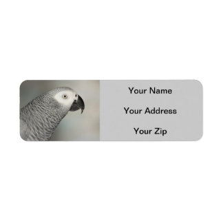 Stately African Grey Parrot Label