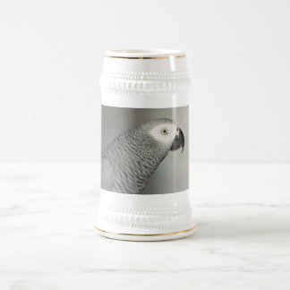 Stately African Grey Parrot 18 Oz Beer Stein