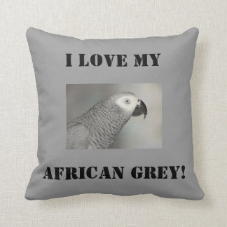 Stately African Grey Parrot Throw Pillow