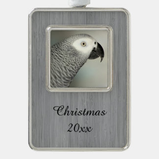 Stately African Grey Parrot Silver Plated Framed Ornament