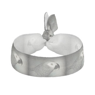 Stately African Grey Parrot Ribbon Hair Tie