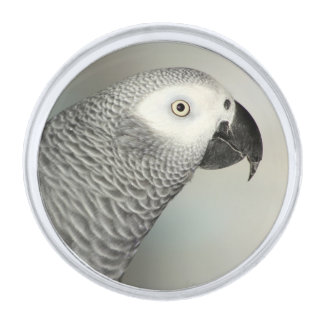 Stately African Grey Parrot Silver Finish Lapel Pin