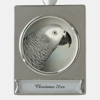 Stately African Grey Parrot Silver Plated Banner Ornament