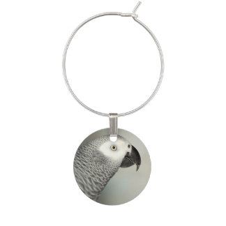 Stately African Grey Parrot Wine Charm