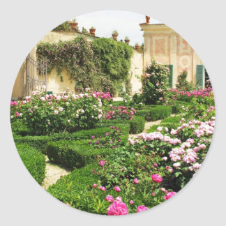 Stately and Serene Italian Rose Garden Classic Round Sticker