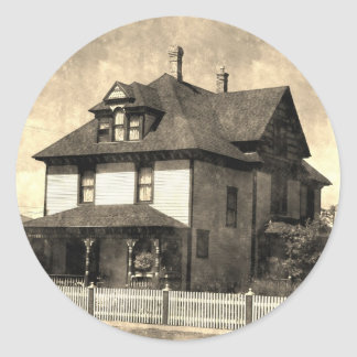 Stately Antique House Classic Round Sticker