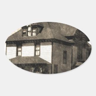 Stately Antique House Oval Sticker