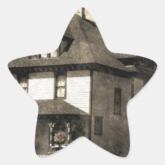 Stately Antique House Star Sticker