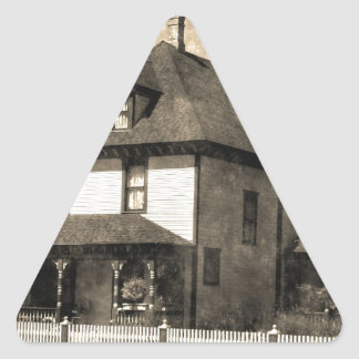 Stately Antique House Triangle Sticker