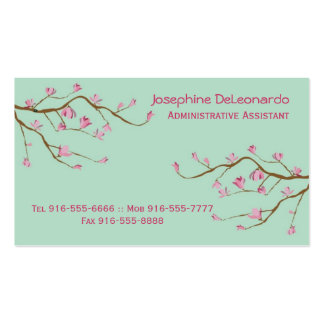 Stately Blossoms Business Cards Green