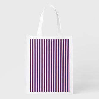 Stately Patriotic Stripes Reusable Grocery Bag