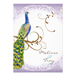 Stately Peacock w Swirl Branch Wedding Invitation