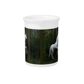 Stately White Unicorn Beverage Pitcher