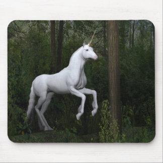 Stately White Unicorn Mouse Pad