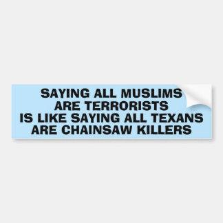Statement About Islamophobia Car Bumper Sticker