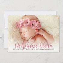 Statement Name | Rosy Pink Script Photo Birth Announcement