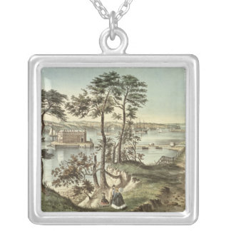 Staten Island and the Narrows from Fort Hamilton Square Pendant Necklace