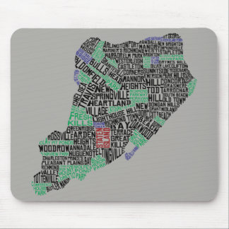 Staten Island New York City Typography Map Mouse Pad