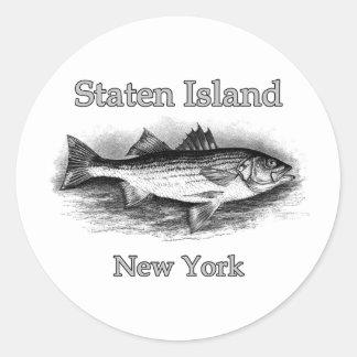 Staten Island NY Vintage Striped Bass Logo Classic Round Sticker