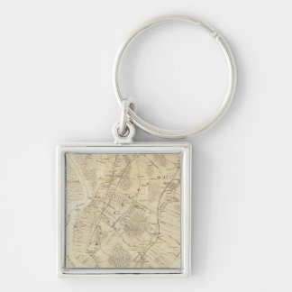 Staten Island South Silver-Colored Square Keychain