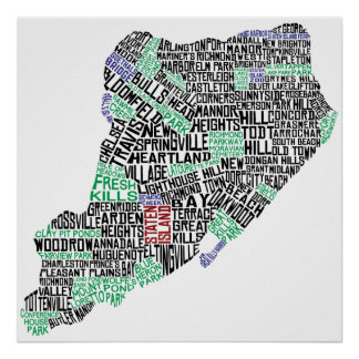 Staten Island Typographic Map, New York City Print