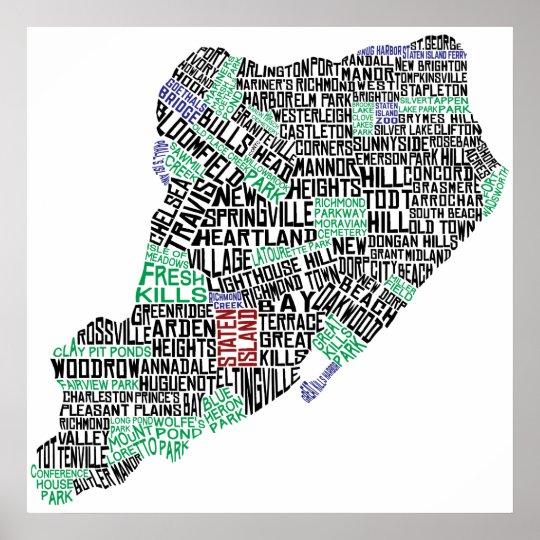 Staten island typographic map new york city print zazzle staten island typographic map new york city print reheart Choice Image