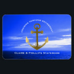 "Stateroom Door Marker Anchor Custom Retirement Magnet<br><div class=""desc"">Fun, personalized cruise vacation nautical stateroom marker magnet especially for retired couples- Reads &#39;Cruising Through Retirement&#39; at the top in curved, white letters. Personalized names at bottom in white. Centered is a faux metallic gold anchor. Against a beautiful ocean sky photo in various shades of blue. Completely customizable for any...</div>"