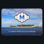 """Stateroom Door Marker Honeymoon Cruise Family Logo Magnet<br><div class=""""desc"""">Fun, personalized cruise ship vacation stateroom door marker magnet especially for newlywed couples- Reads &#39;Honeymoon Cruise&#39; at the top in curved, red letters. Underneath is the family logo with an elegant black and white frame displaying family name, monogrammed initial, and year newlyweds were married. Personalized names at bottom in white....</div>"""