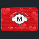 """Stateroom Door Marker Honeymoon Cruise Red Hearts Magnet<br><div class=""""desc"""">Fun, personalized romantic cruise ship vacation stateroom door marker magnet designed especially for just married newlyweds- Reads &#39;Honeymoon Cruise&#39; at the top in curved lettering above the monogrammed family logo with an elegant black and white frame displaying family name at the bottom, monogrammed initial in the center, and year newlyweds...</div>"""