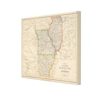 States of Illinois, Missouri, and Arkansas Canvas Print