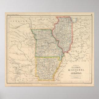 States of Illinois, Missouri, and Arkansas Poster