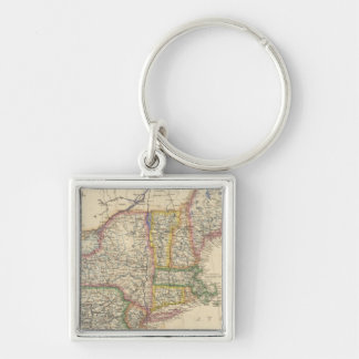 States of Maine, New Hampshire, Vermont Silver-Colored Square Keychain