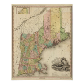 States of Maine, New Hampshire, Vermont Poster