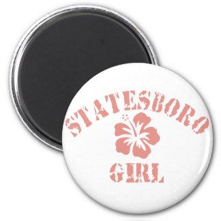 Statesboro Pink Girl 2 Inch Round Magnet