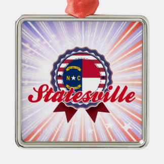 Statesville, NC Square Metal Christmas Ornament
