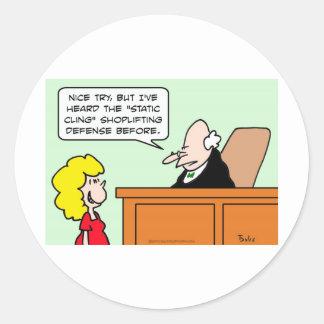 static cling shoplifting defense judge stickers